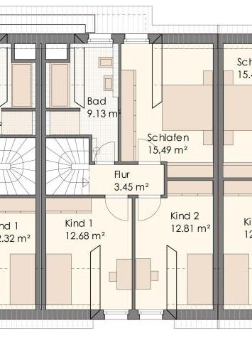 Grundriss Mittelhaus Obergeschoss